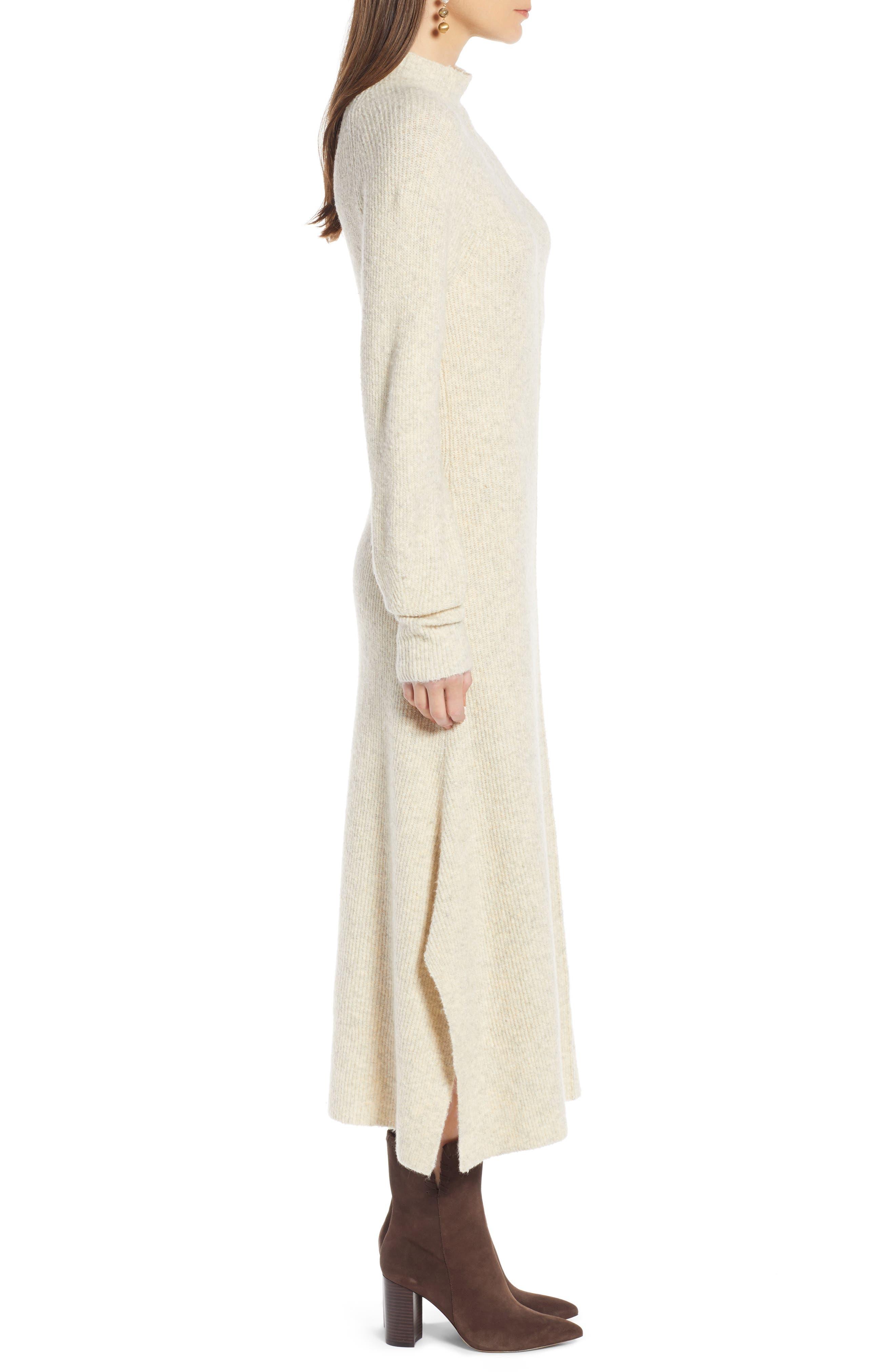 ,                             Mock Neck Maxi Sweater Dress,                             Alternate thumbnail 3, color,                             260