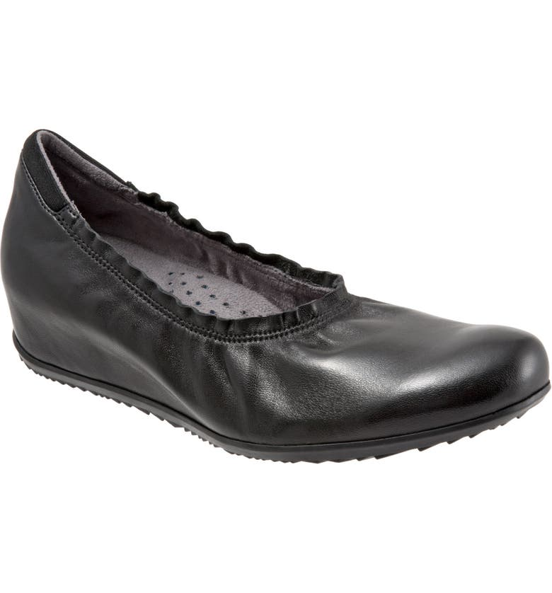 SOFTWALK<SUP>®</SUP> Wish Ballet Wedge(Women), Main, color, BLACK LEATHER