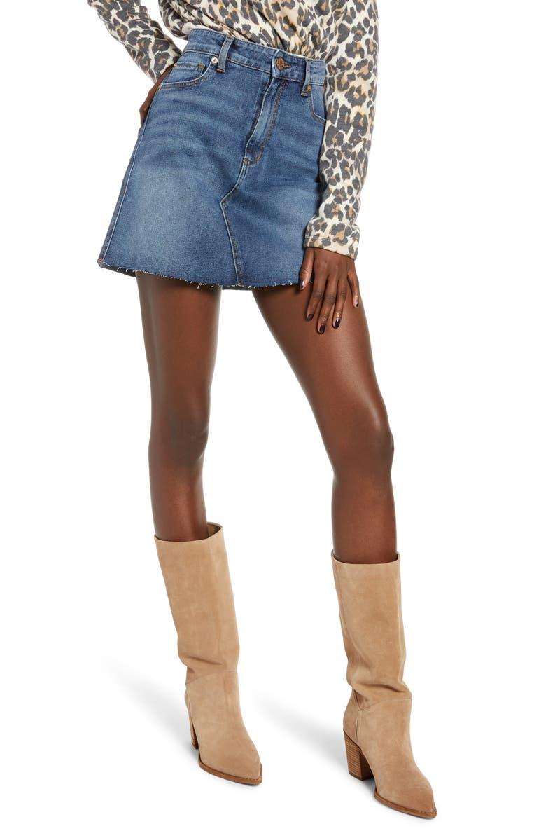 STS BLUE Emily Stretch Denim Miniskirt, Main, color, EAST GARNET