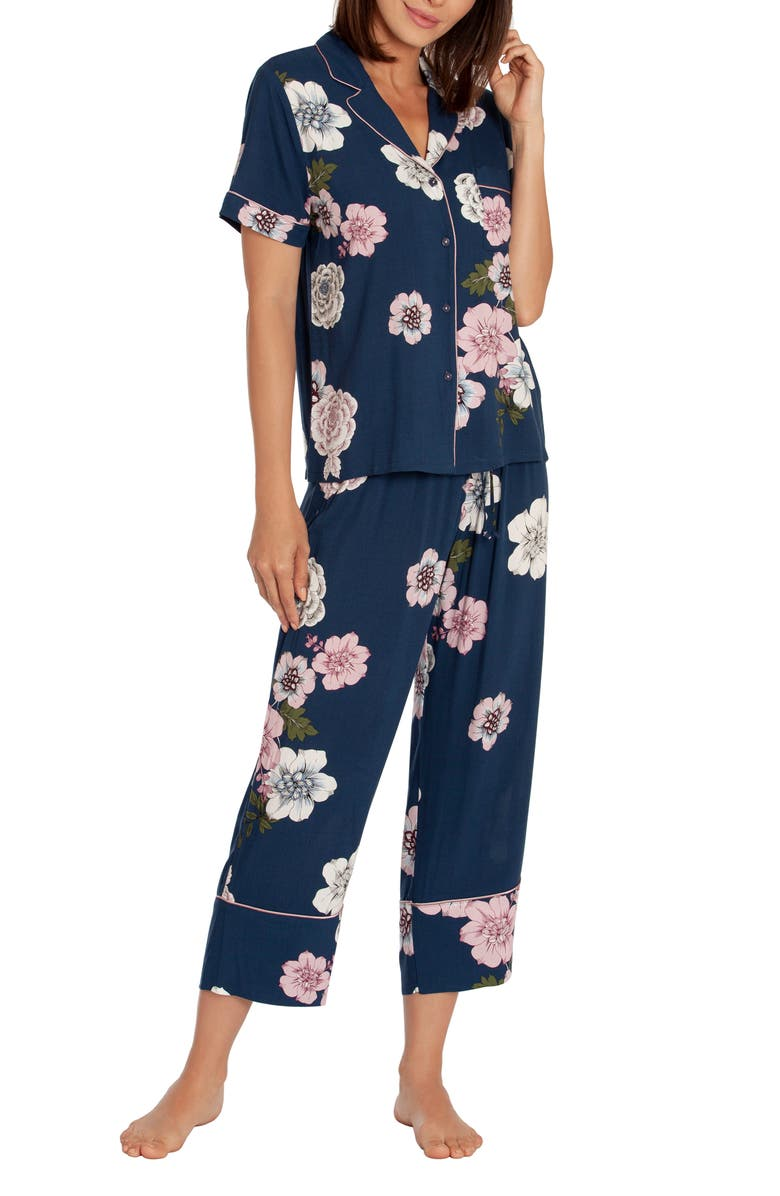 IN BLOOM BY JONQUIL Crop Pajamas, Main, color, ALLY FLORAL NAVY