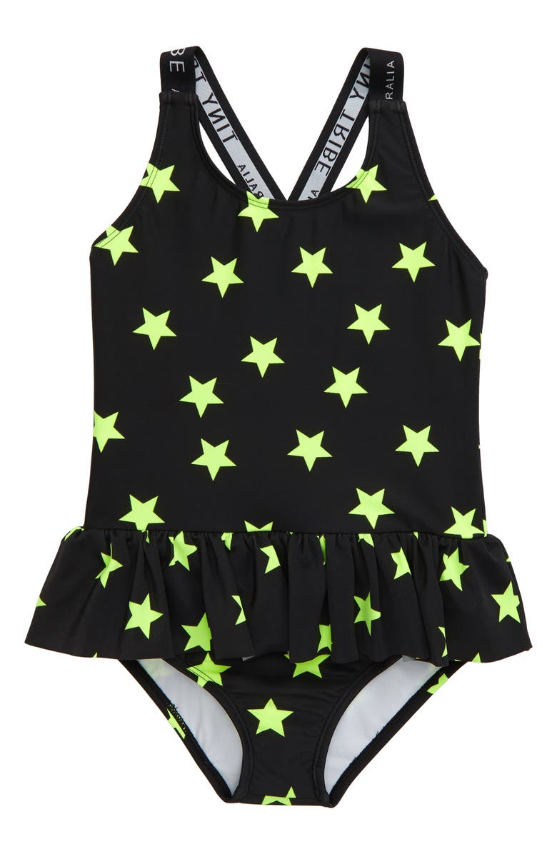 TINY TRIBE Star Frill One-Piece Swimsuit, Main, color, 001