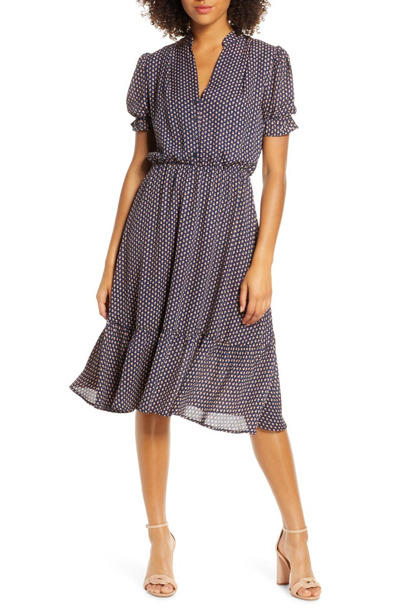FRAICHE BY J Puff Sleeve Midi Dress, Main, color, SOPHI
