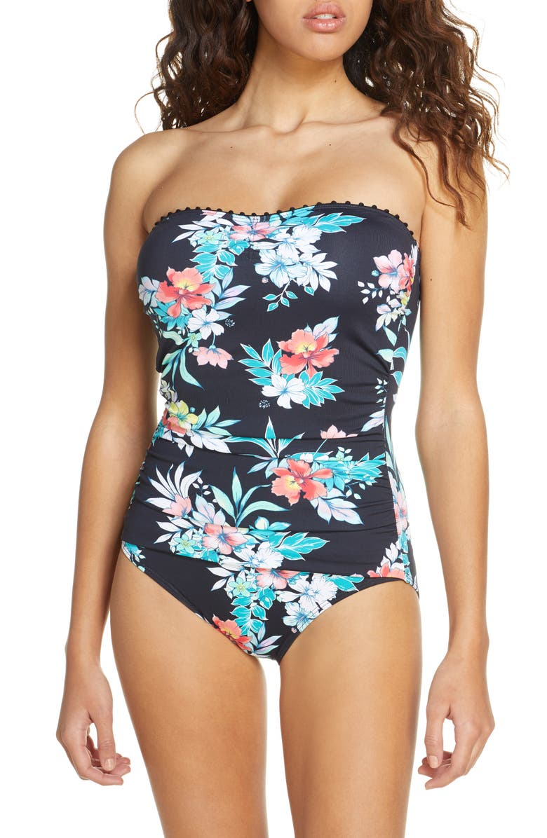 TOMMY BAHAMA Floral Springs Bandeau One-Piece Swimsuit, Main, color, 001