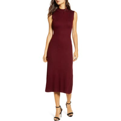 All In Favor Ribbed Midi Sweater Dress, Burgundy