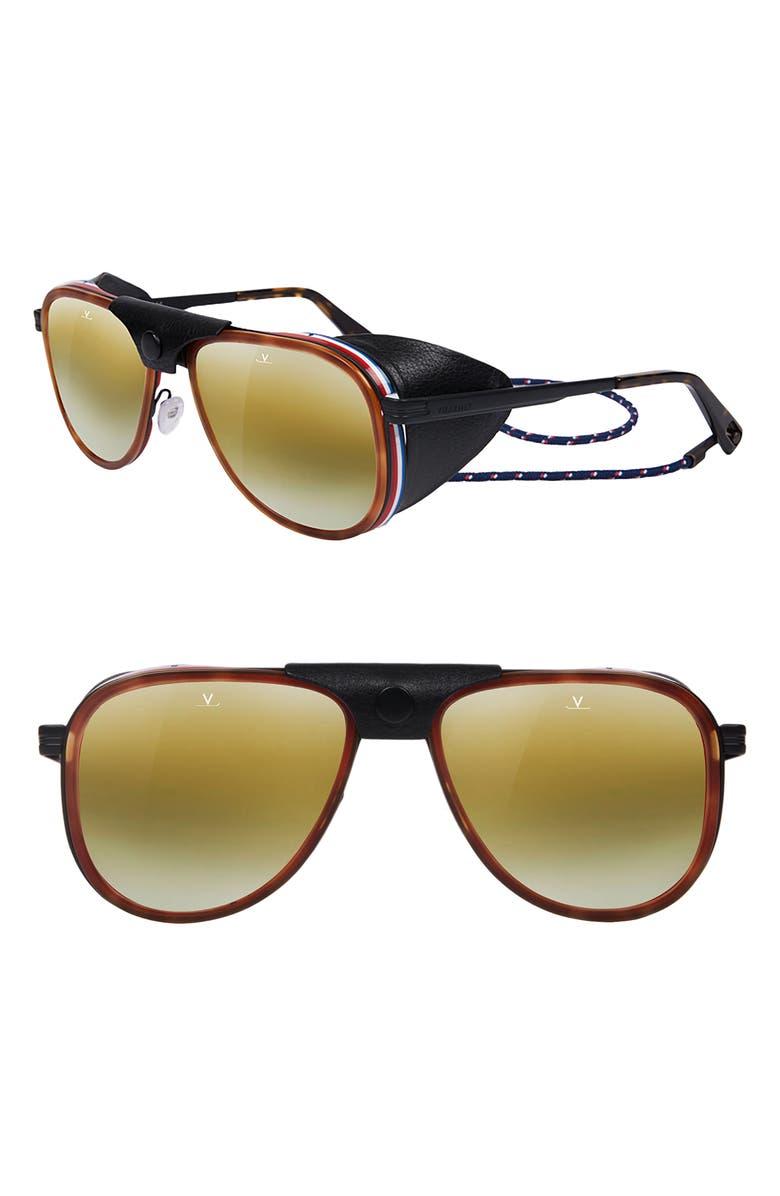 VUARNET Glacier 57mm Aviator Sunglasses, Main, color, TORTOISE MATT