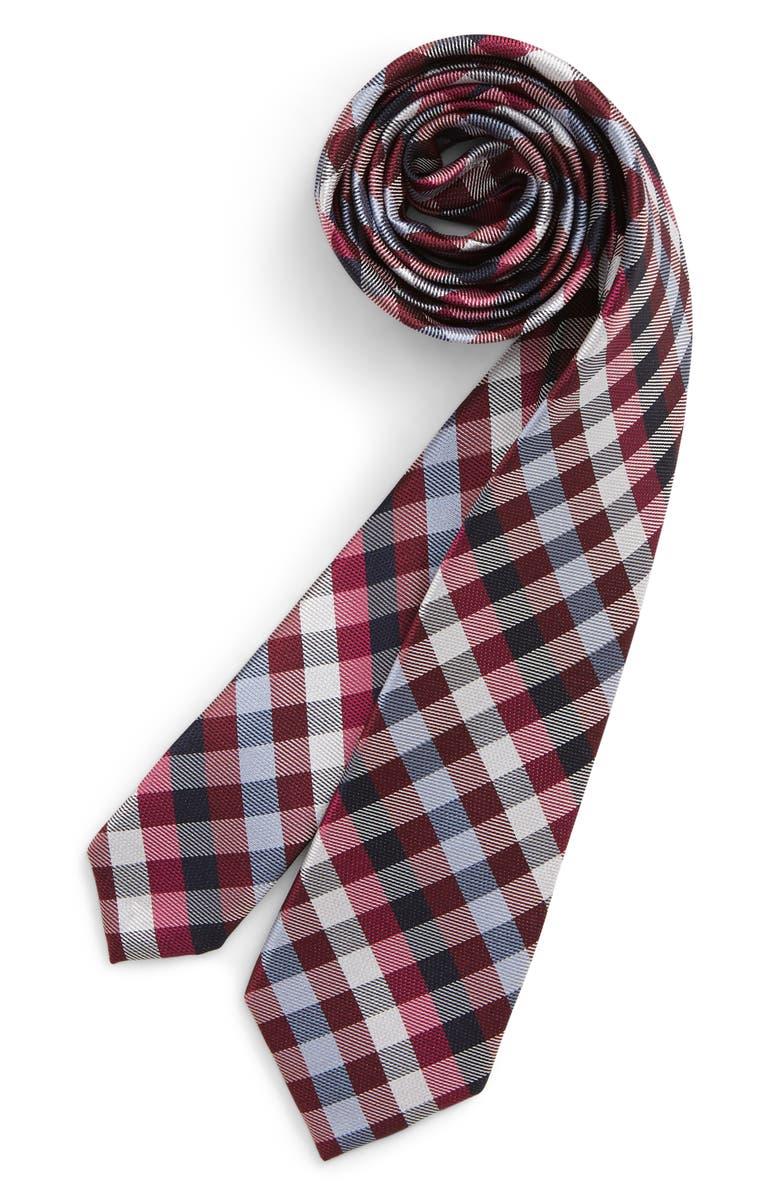 NORDSTROM Allen Plaid Silk Tie, Main, color, RED
