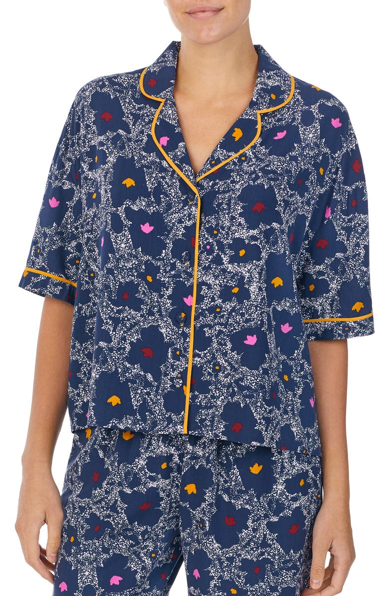 REFINERY29 Piera Crop Pajama Top, Main, color, BLUE DOTS