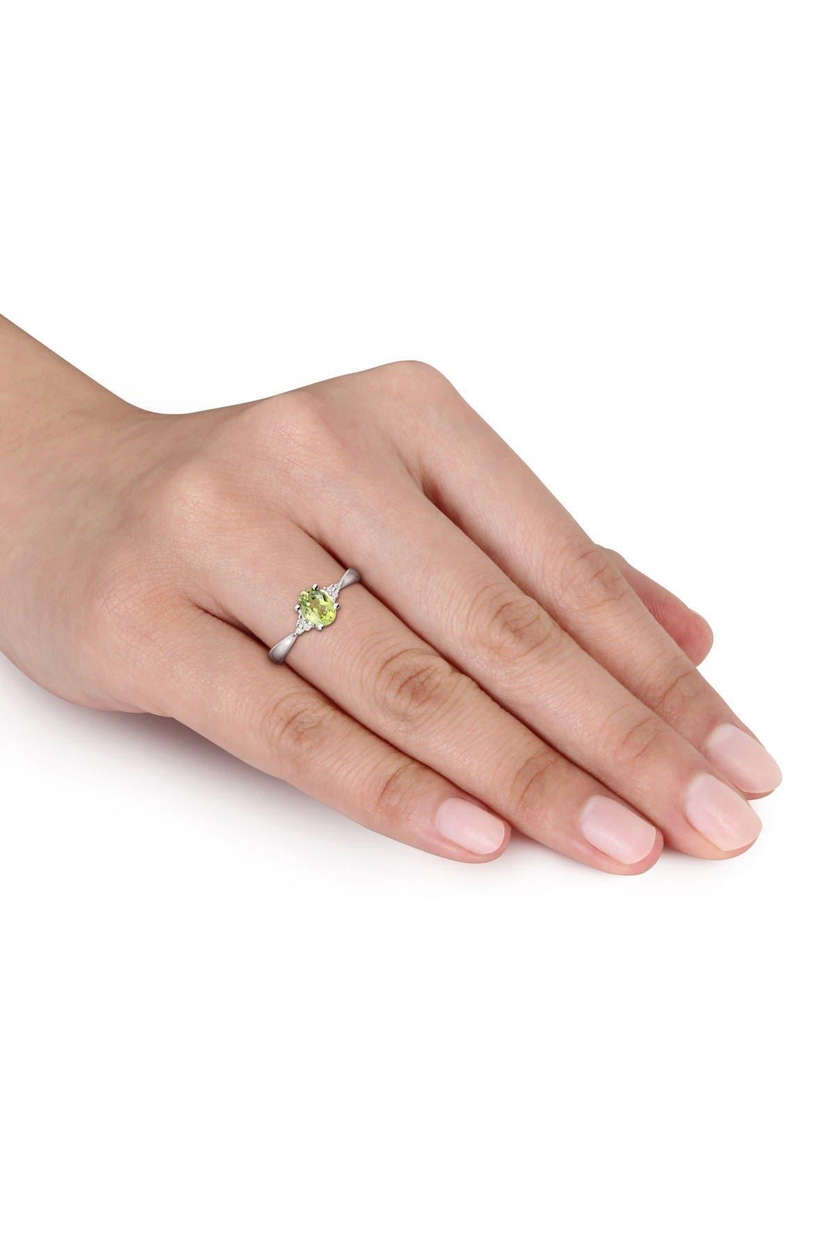Image of Delmar Sterling Silver Oval Peridot & Diamond Cluster Ring