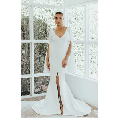 Noel And Jean By Katie May Heiress Slit Long Sleeve Mermaid Wedding Dress, Ivory