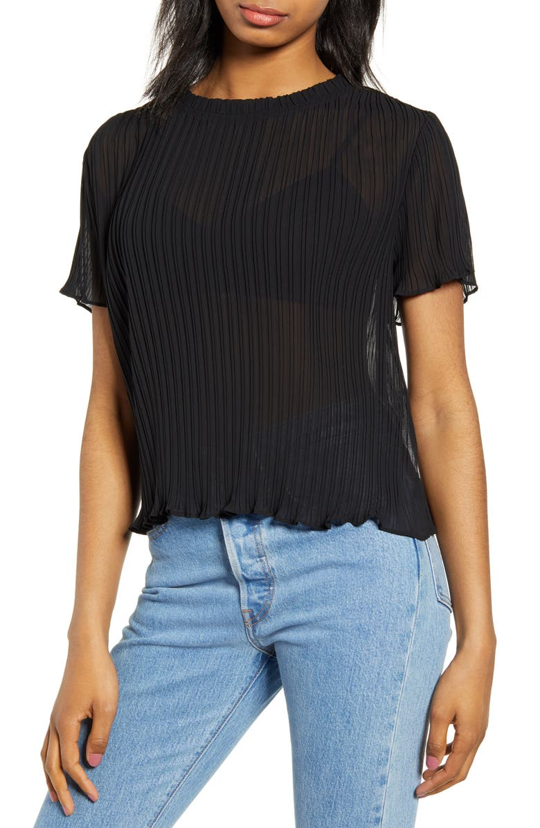 CODEXMODE Plissé Top, Main, color, BLACK