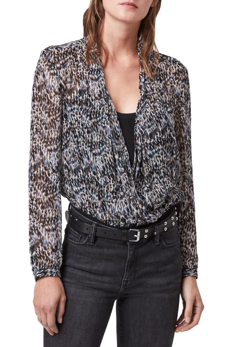 ALLSAINTS Camille Mara V-Neck Long Sleeve Bodysuit, Main, color, BLUE