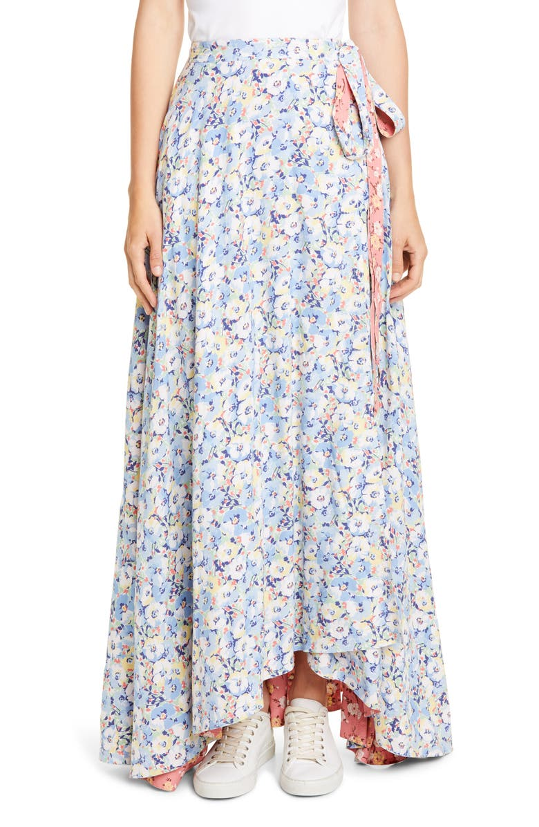 POLO RALPH LAUREN Lye Reversible Wrap Maxi Skirt, Main, color, PINK/ BLUE