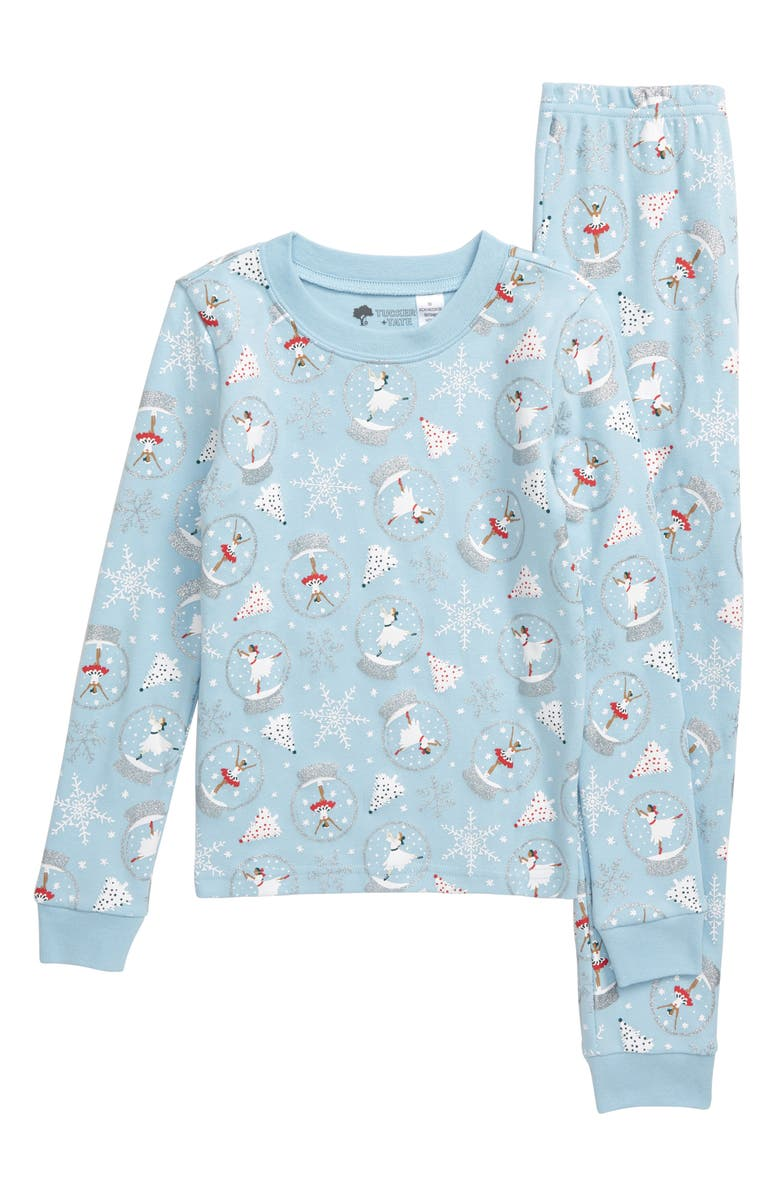 TUCKER + TATE Fitted Two-Piece Pajamas, Main, color, BLUE FALLS SNOW GLOBES