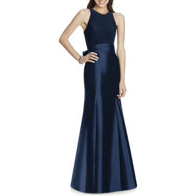 Alfred Sung Mikado Jersey Bodice Trumpet Gown, Blue