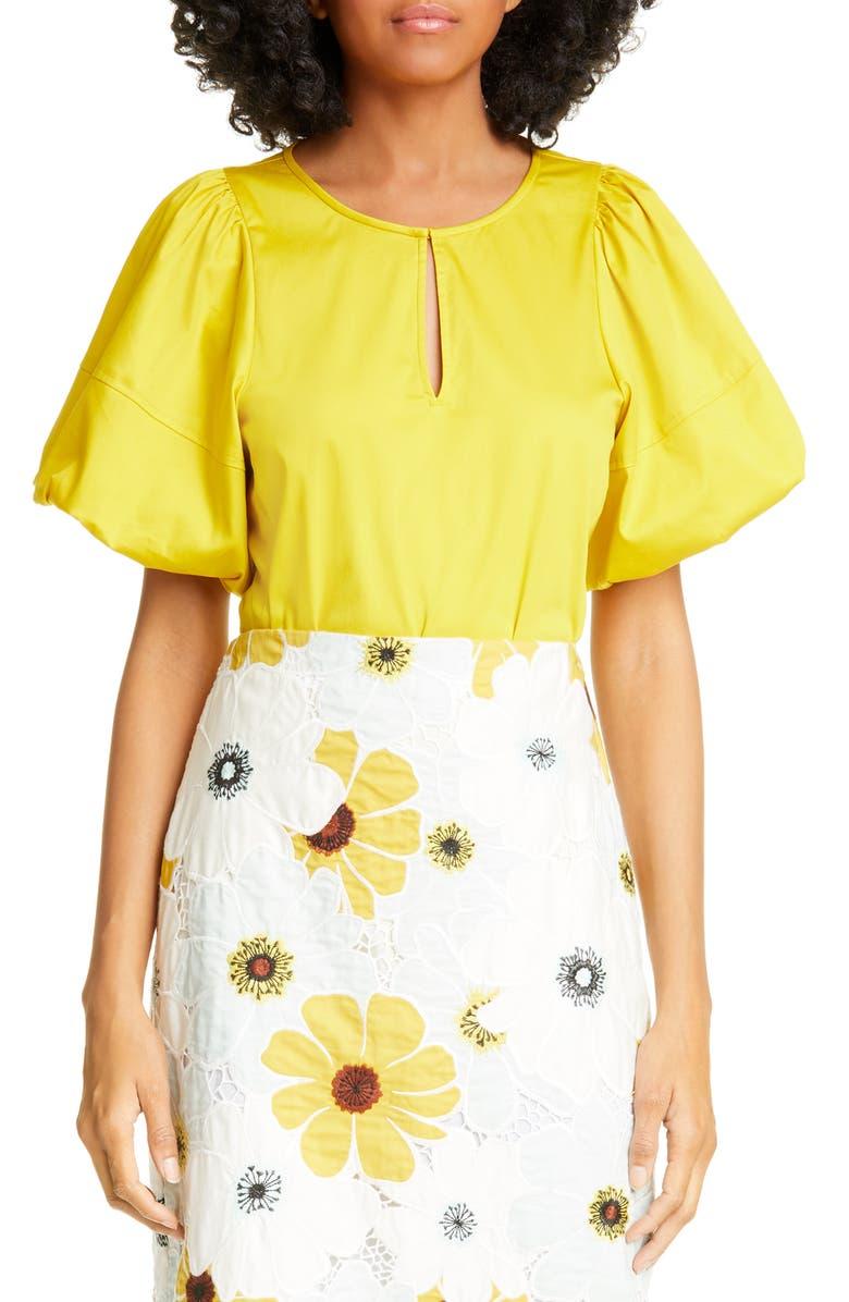 KATE SPADE NEW YORK puff sleeve poplin blouse, Main, color, CHARTREUSE