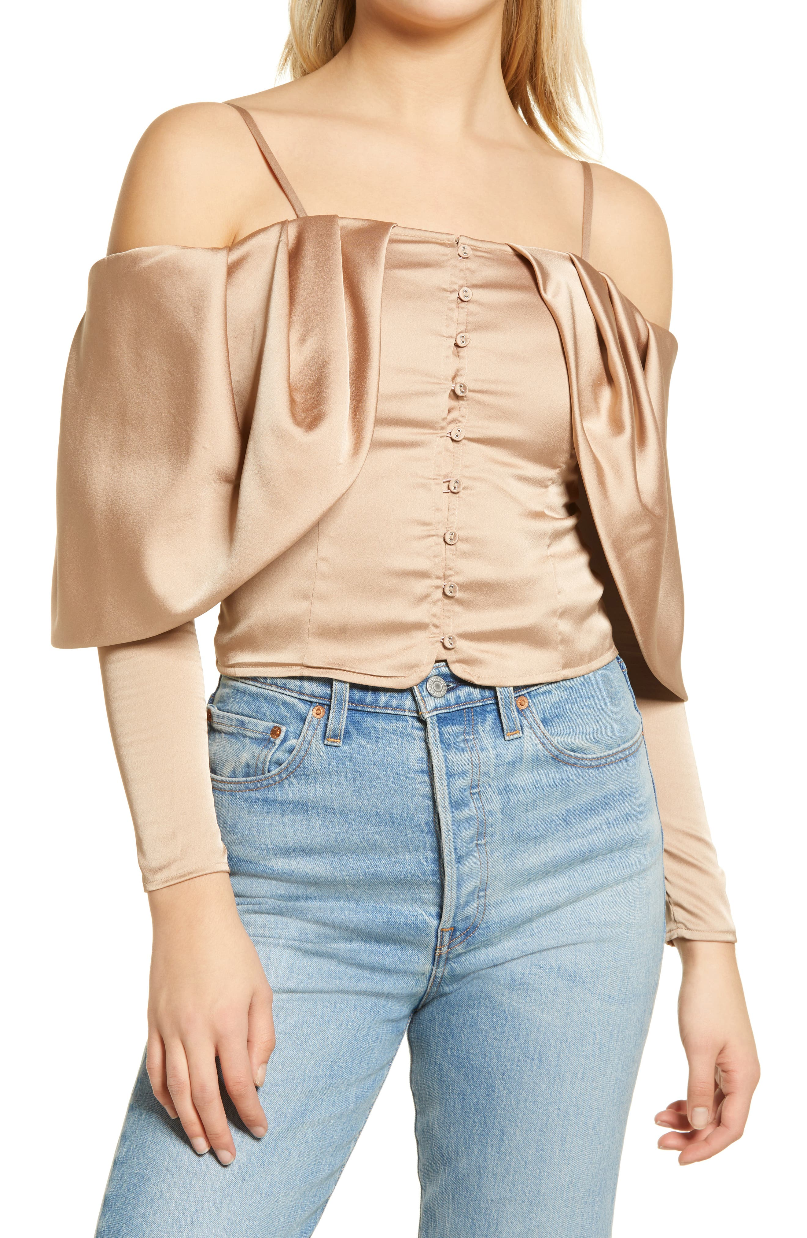 Yessica Cold Shoulder Long Sleeve Blouse