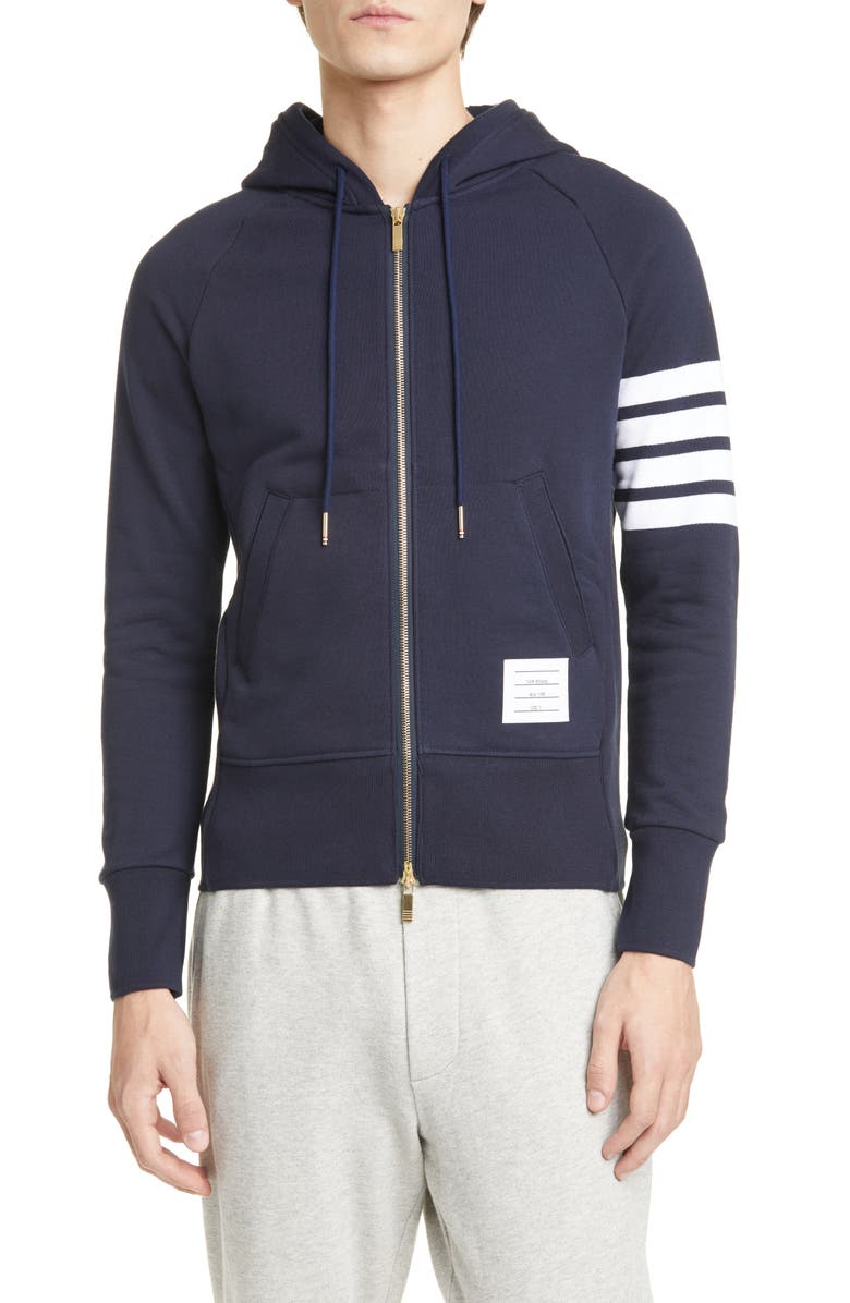 THOM BROWNE Classic Stripe Sleeve Full Zip Hoodie, Main, color, NAVY