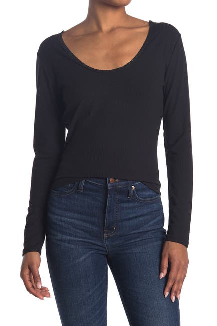 Image of Abound Scoop Neck Long Sleeve Lace Trim T-Shirt
