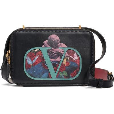 Valentino Garavani Vsling U Print Calfskin Crossbody Bag - Black