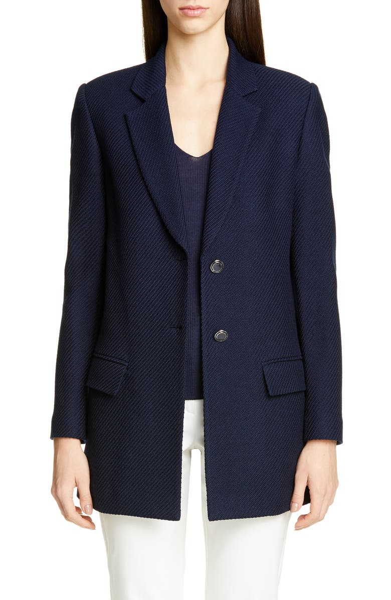 ST. JOHN COLLECTION Sarga Knit Twill Jacket, Main, color, NAVY