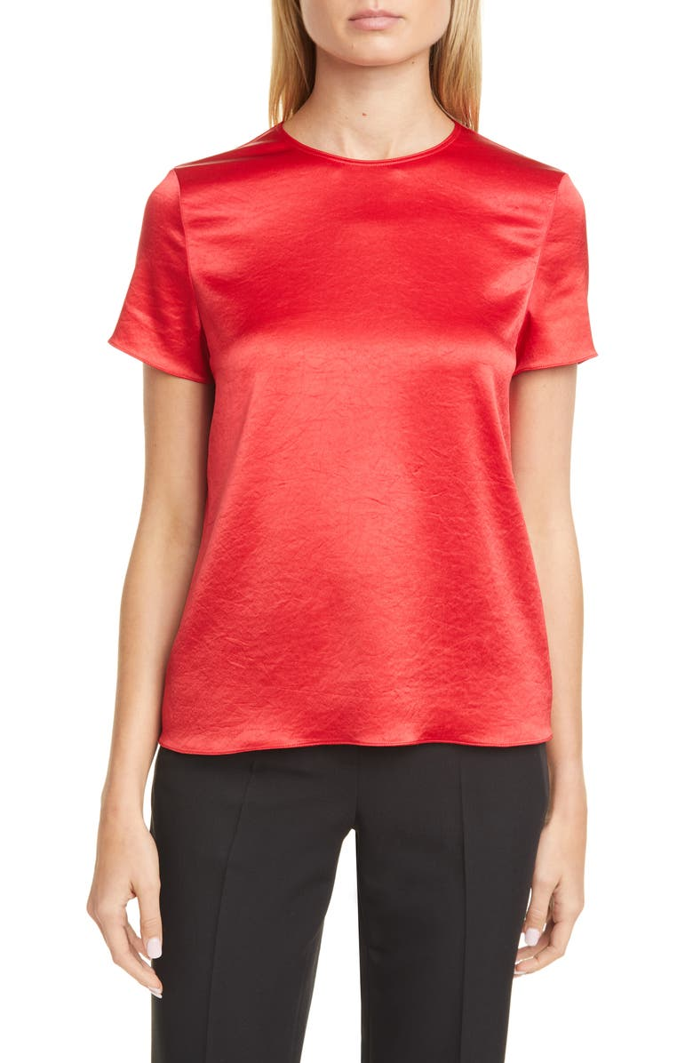 THEORY Textured Satin Tee, Main, color, BRIGHT RUBY