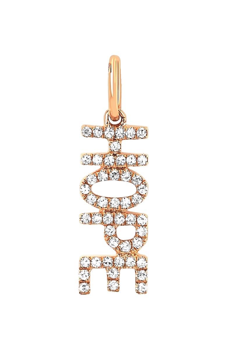 EF COLLECTION Diamond Hope Pendant Charm, Main, color, DIAMOND/ YELLOW GOLD
