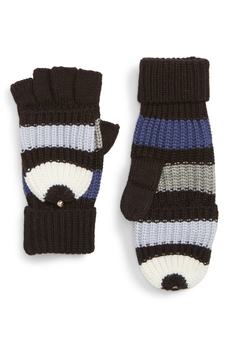 KATE SPADE NEW YORK stripe convertible knit mittens, Main, color, RICH INK