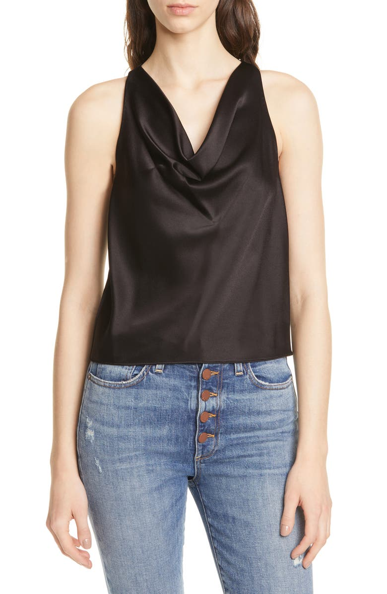 ALICE + OLIVIA Harmon Draped Racerback Satin Tank Top, Main, color, BLACK