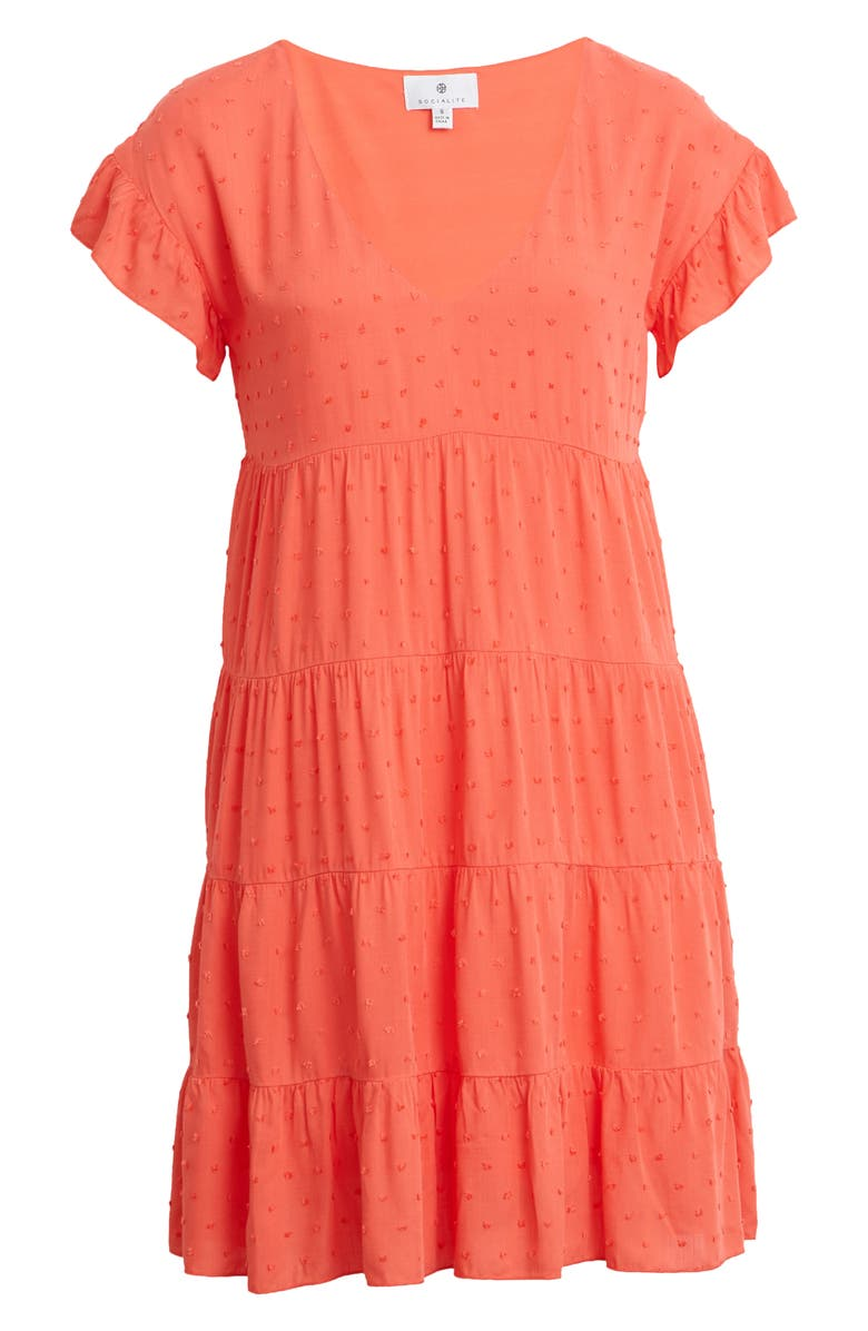 SOCIALITE Tiered Babydoll Dress, Main, color, PERSIMMON