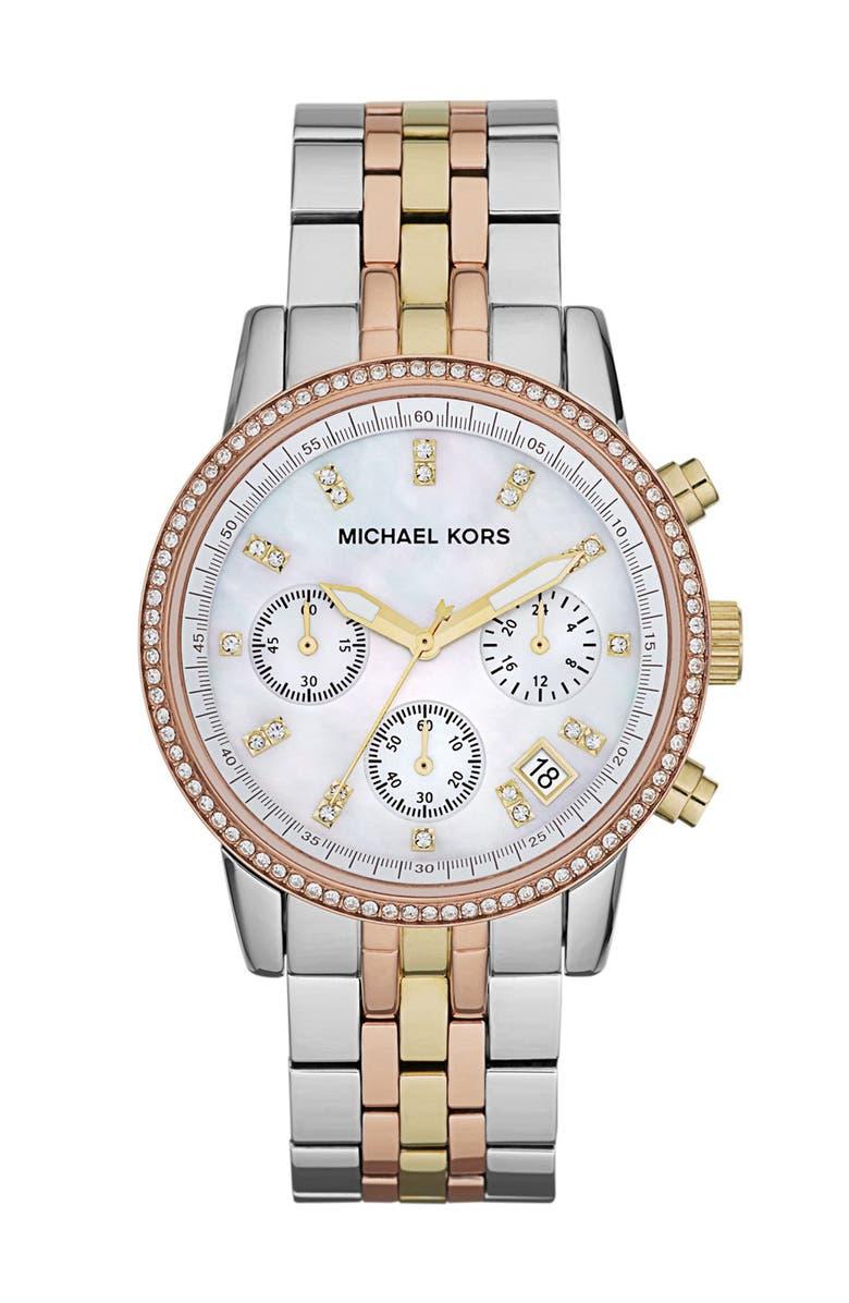 MICHAEL MICHAEL KORS Michael Kors 'Ritz' Chronograph Bracelet Watch, 36mm, Main, color, 040