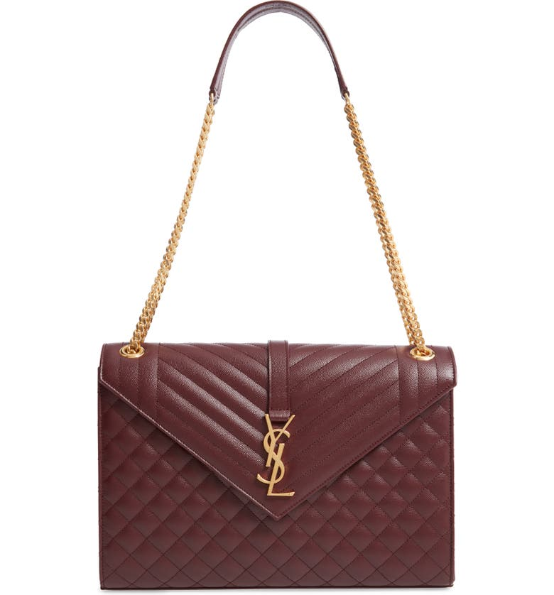 SAINT LAURENT Large Cassandra Calfskin Shoulder Bag, Main, color, ROUGE LEGION
