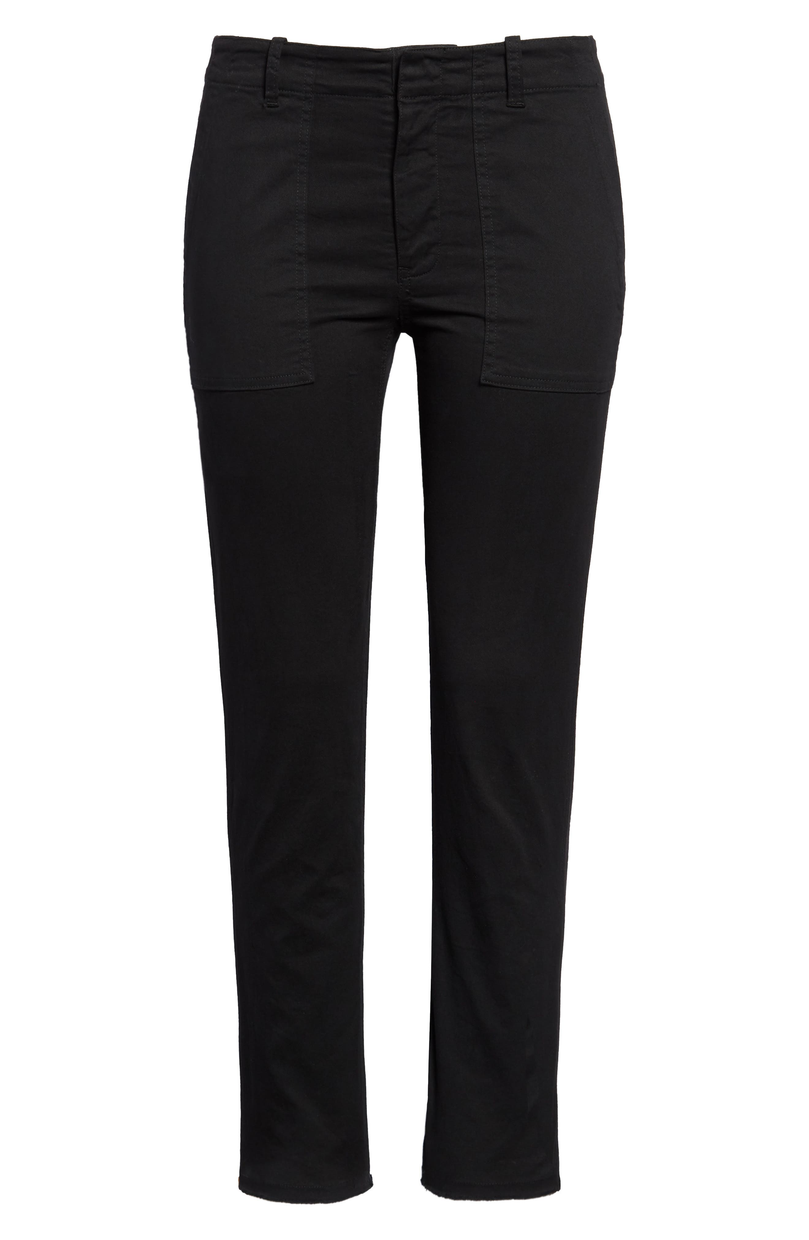 Women's Nili Lotan Jenna Slim Crop Stretch Twill Pants,  12 - Black