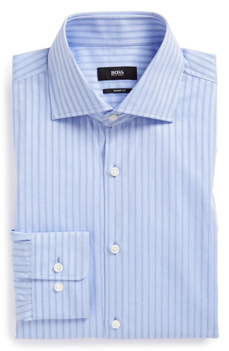 BOSS 'Miles US' Sharp Fit Stripe Dress Shirt, Main, color, 420