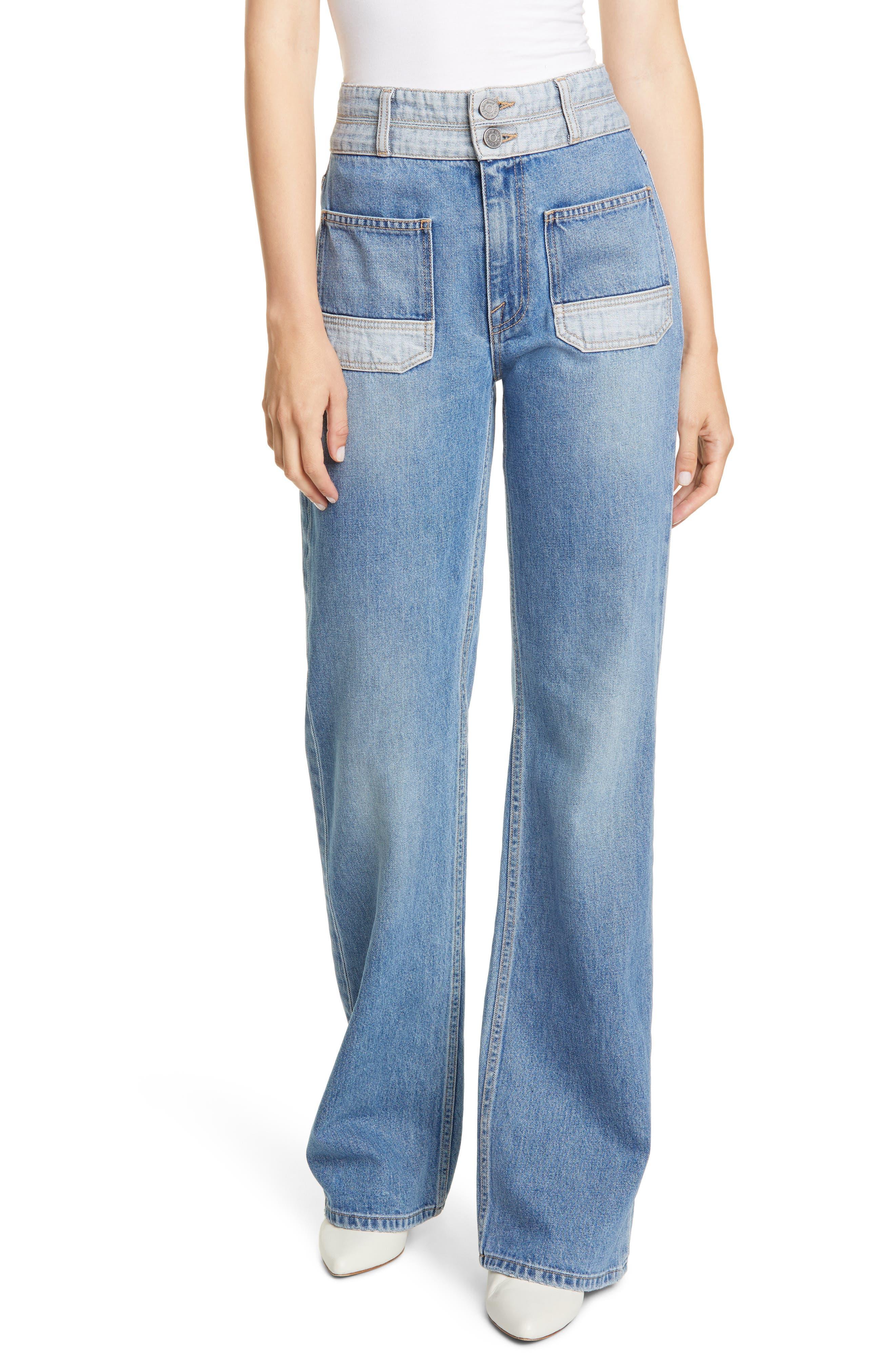 Joie Jeans Gabriel High Waist Two-Tone Wide Leg Jeans