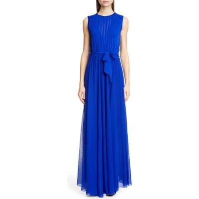 Fuzzi Belted Gathered Maxi Dress, Blue