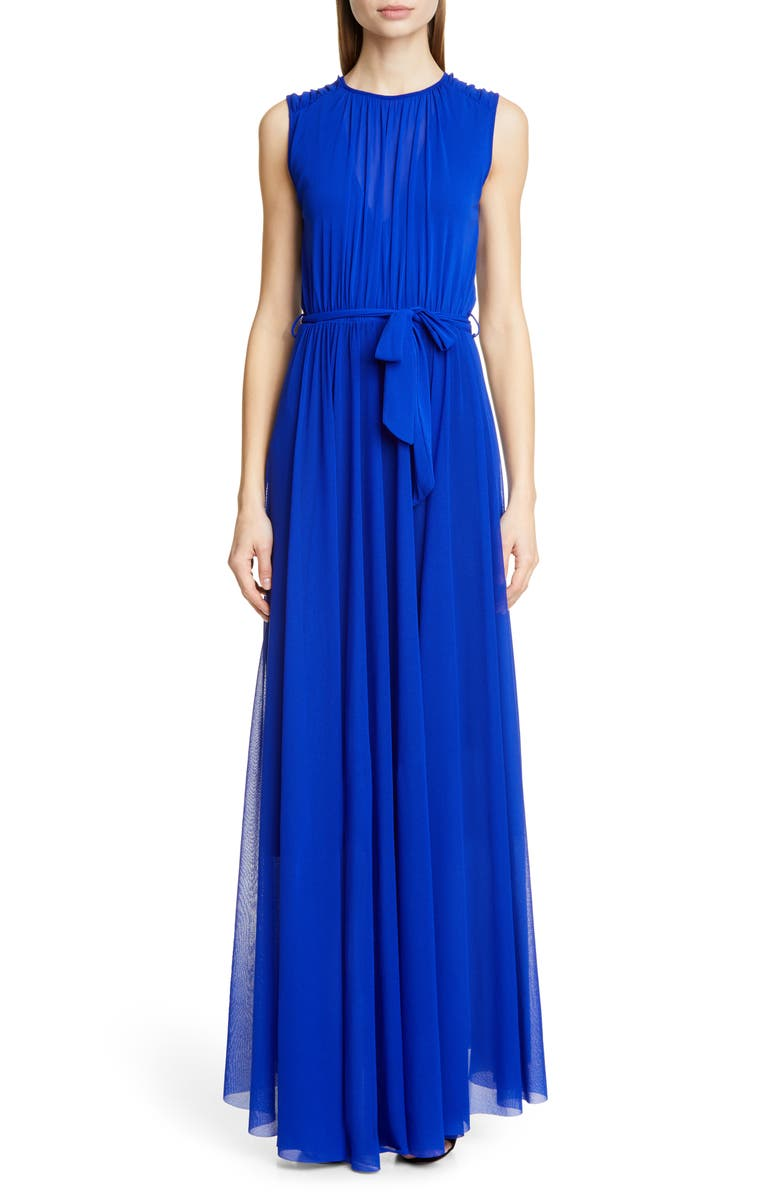 FUZZI Belted Gathered Maxi Dress, Main, color, INDACO