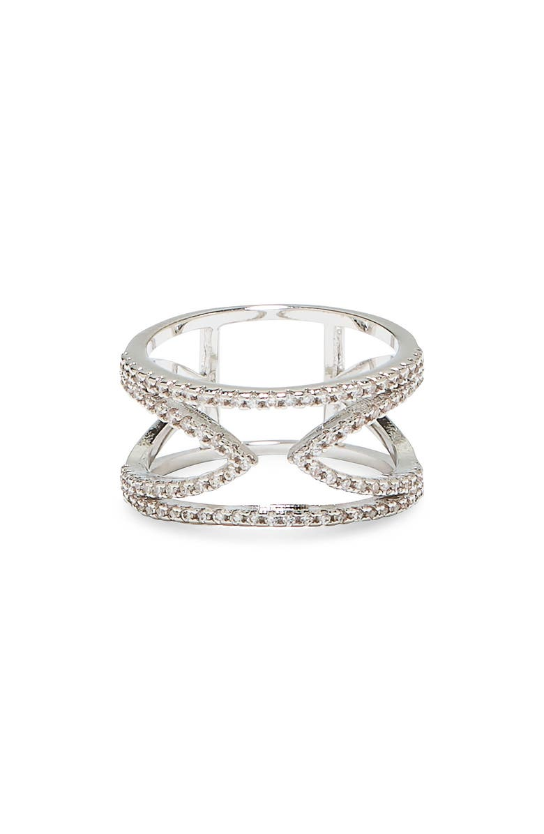 VINCE CAMUTO Open-V Pavé Ring, Main, color, SILVER