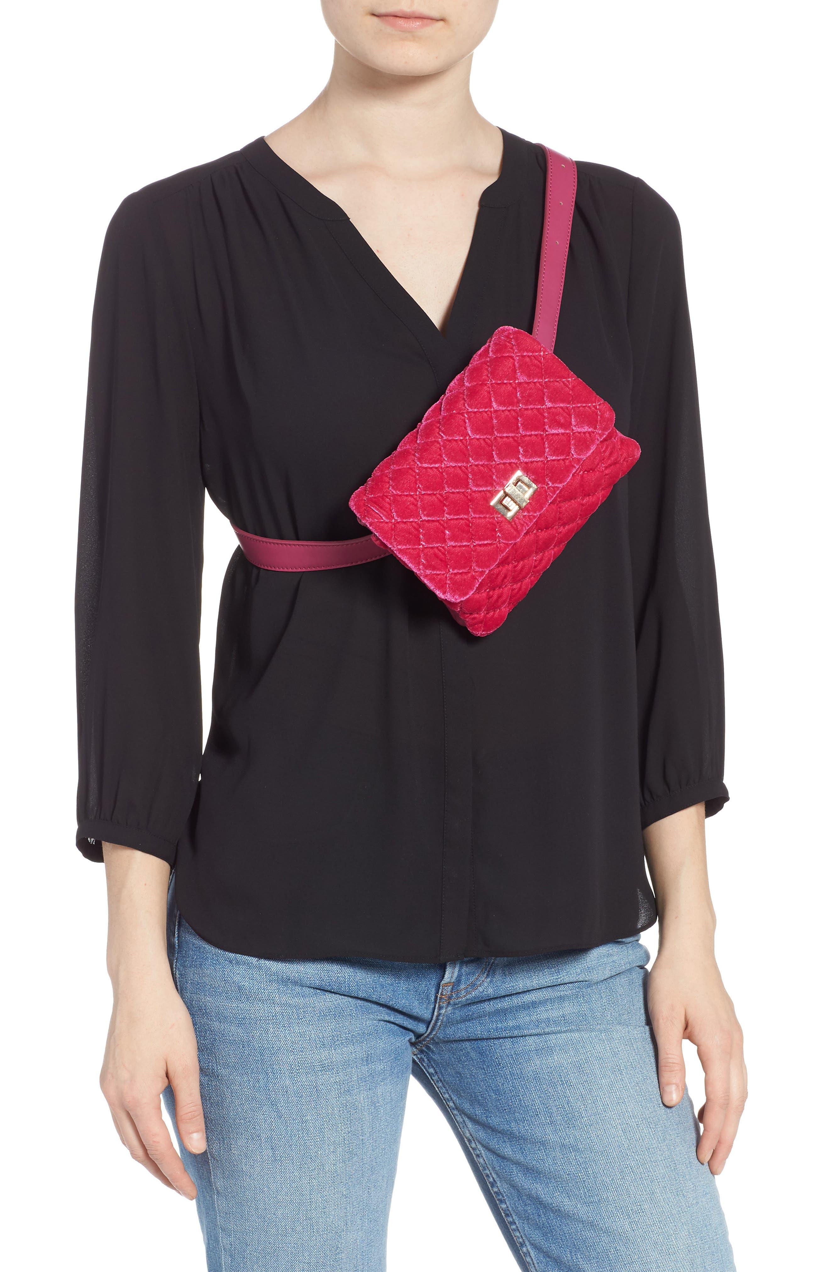 ,                             Nikki Quilted Velvet Belt Bag,                             Alternate thumbnail 12, color,                             650