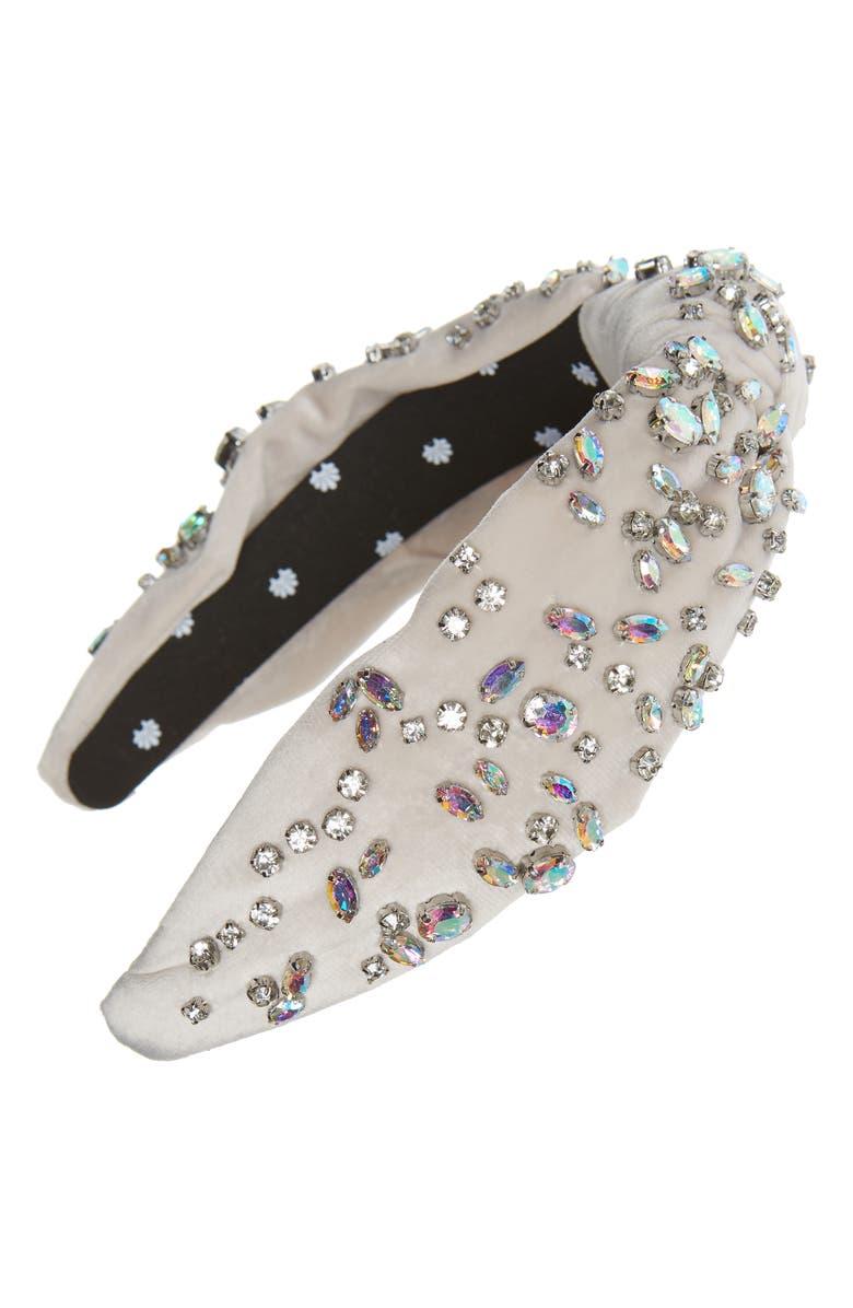 LELE SADOUGHI Crystal Knotted Velvet Headband, Main, color, IVORY PASTEL