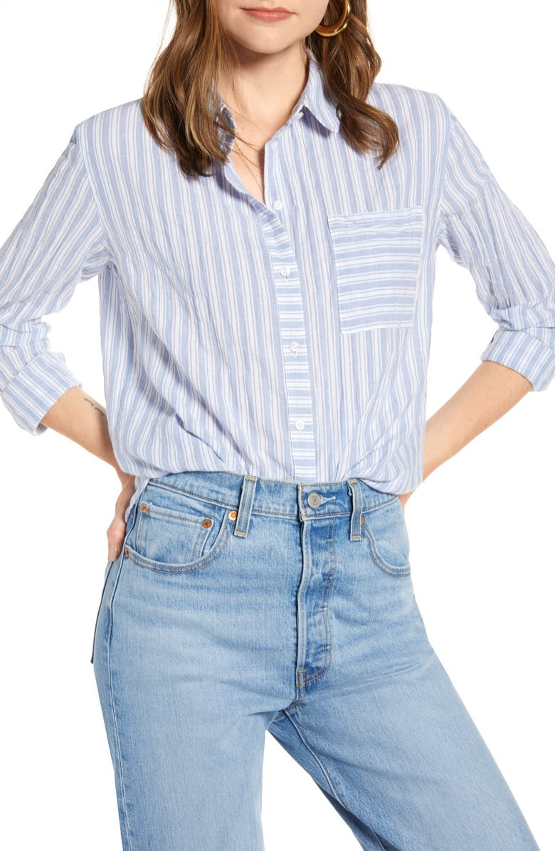 TREASURE & BOND Dobby Stripe Boyfriend Shirt, Main, color, BLUE- WHITE BIRDY STRIPE