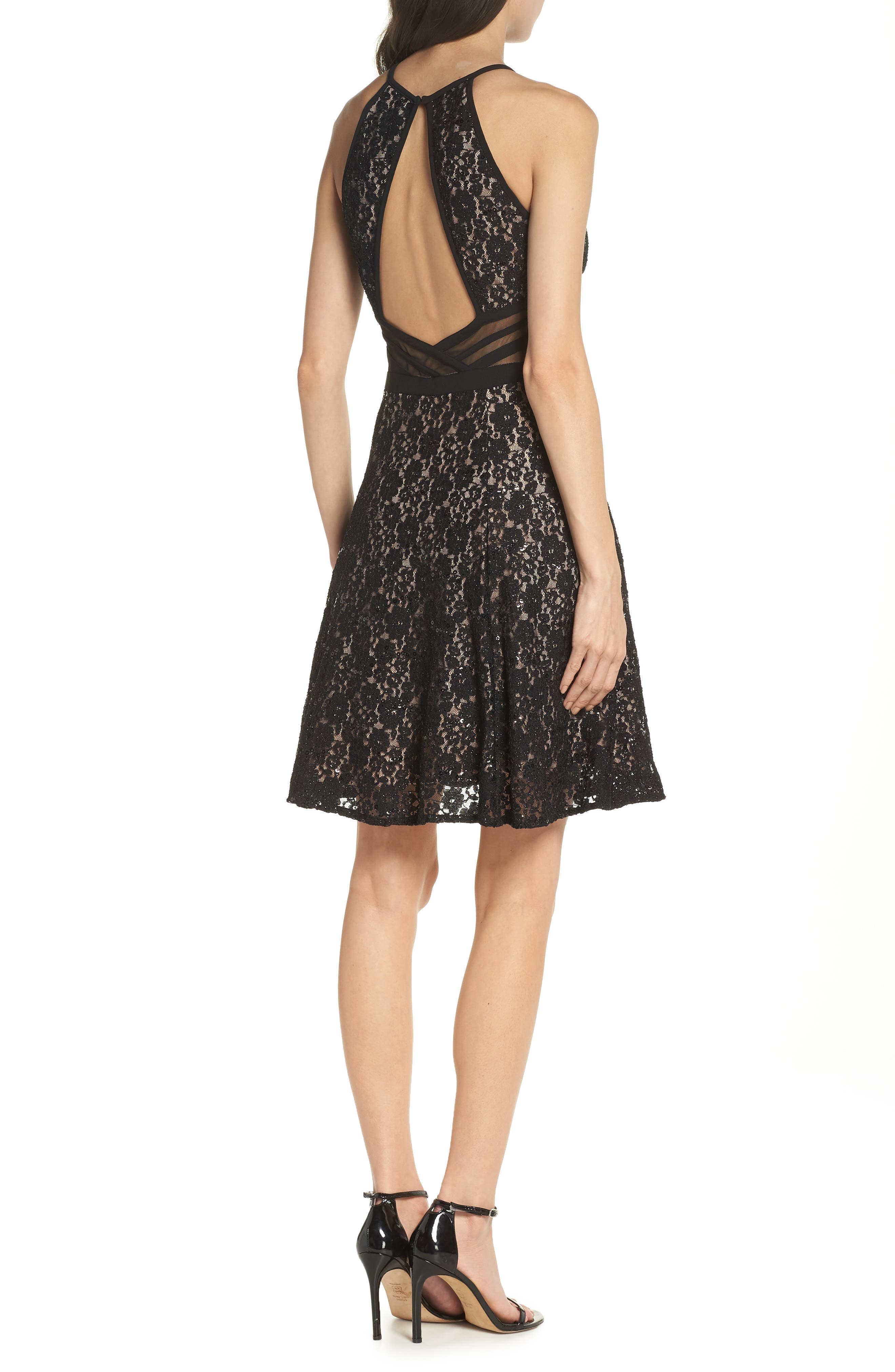 ,                             Sheer Inset Lace Fit & Flare Dress,                             Alternate thumbnail 2, color,                             BLACK/ NUDE