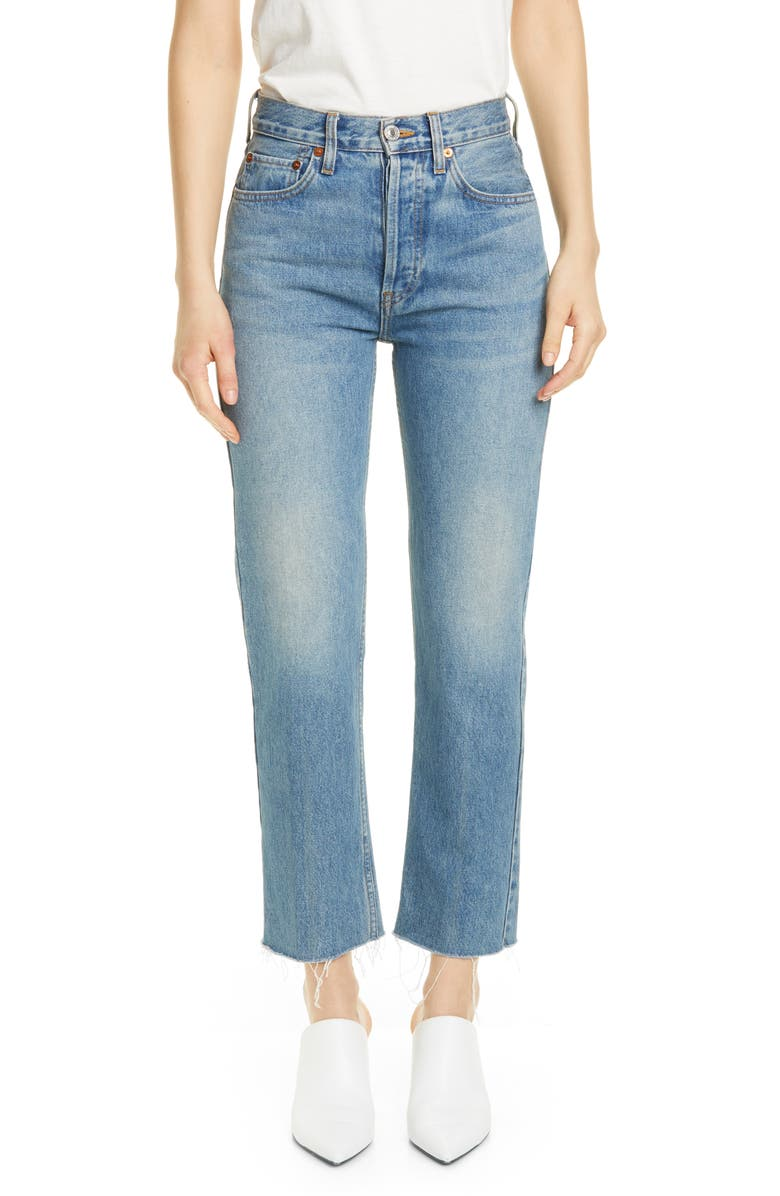 RE/DONE Originals High Waist Stovepipe Jeans, Main, color, MEDIUM VAIN