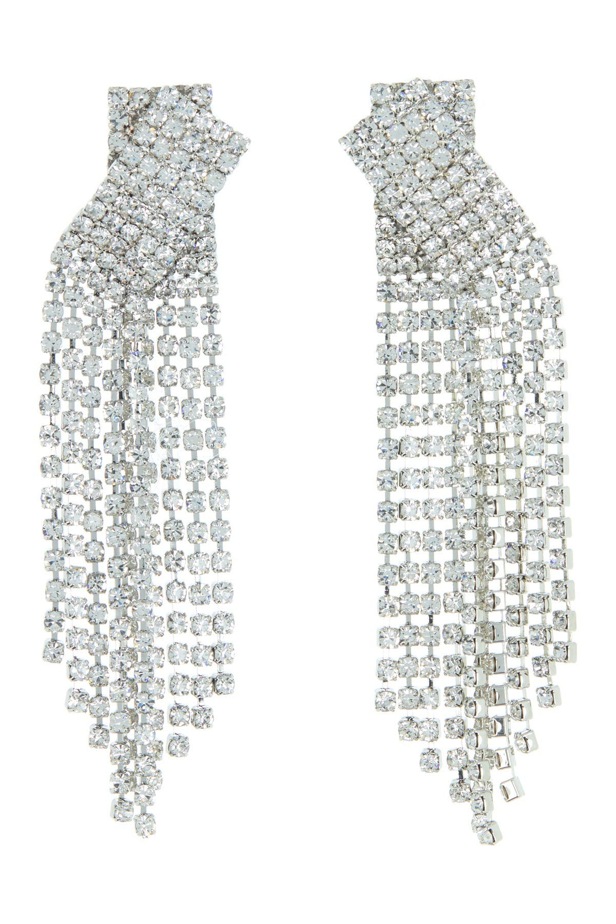 Image of CRISTABELLE Rhinestone Criss-Cross Fringe Drop Earrings