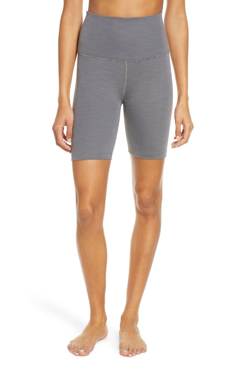 BEYOND YOGA High Waist Bike Shorts, Main, color, GRAY HEATHER