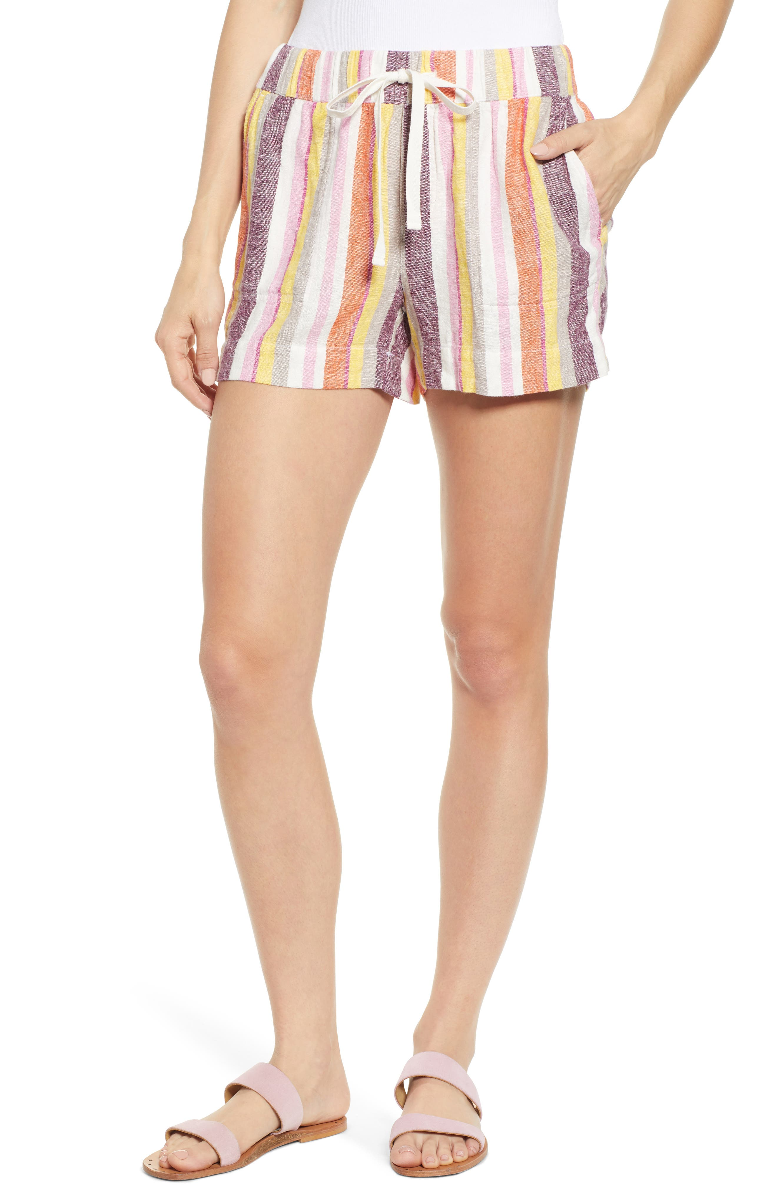 Women's Caslon Stripe Linen Shorts