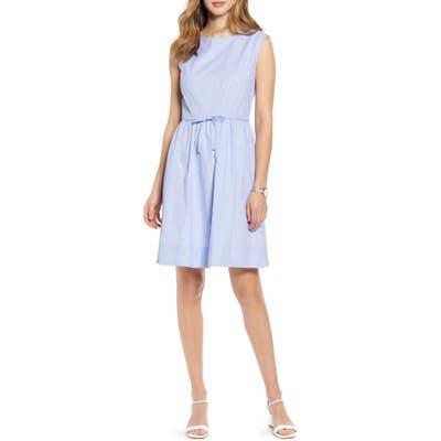 Petite 1901 Pinstripe Embroidered Sleeveless Cotton Poplin Dress, Blue