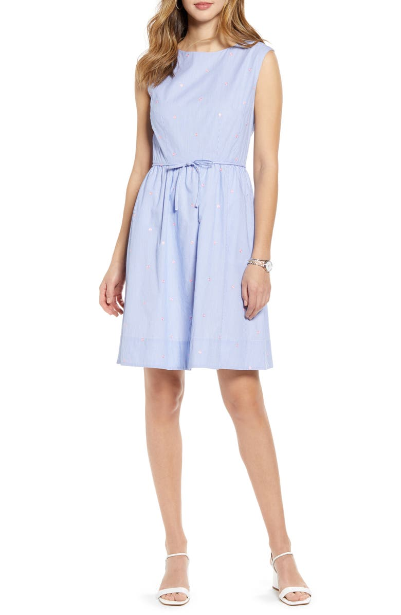 1901 Pinstripe Embroidered Sleeveless Cotton Poplin Dress, Main, color, BLUE- PINK STRIPE DOT