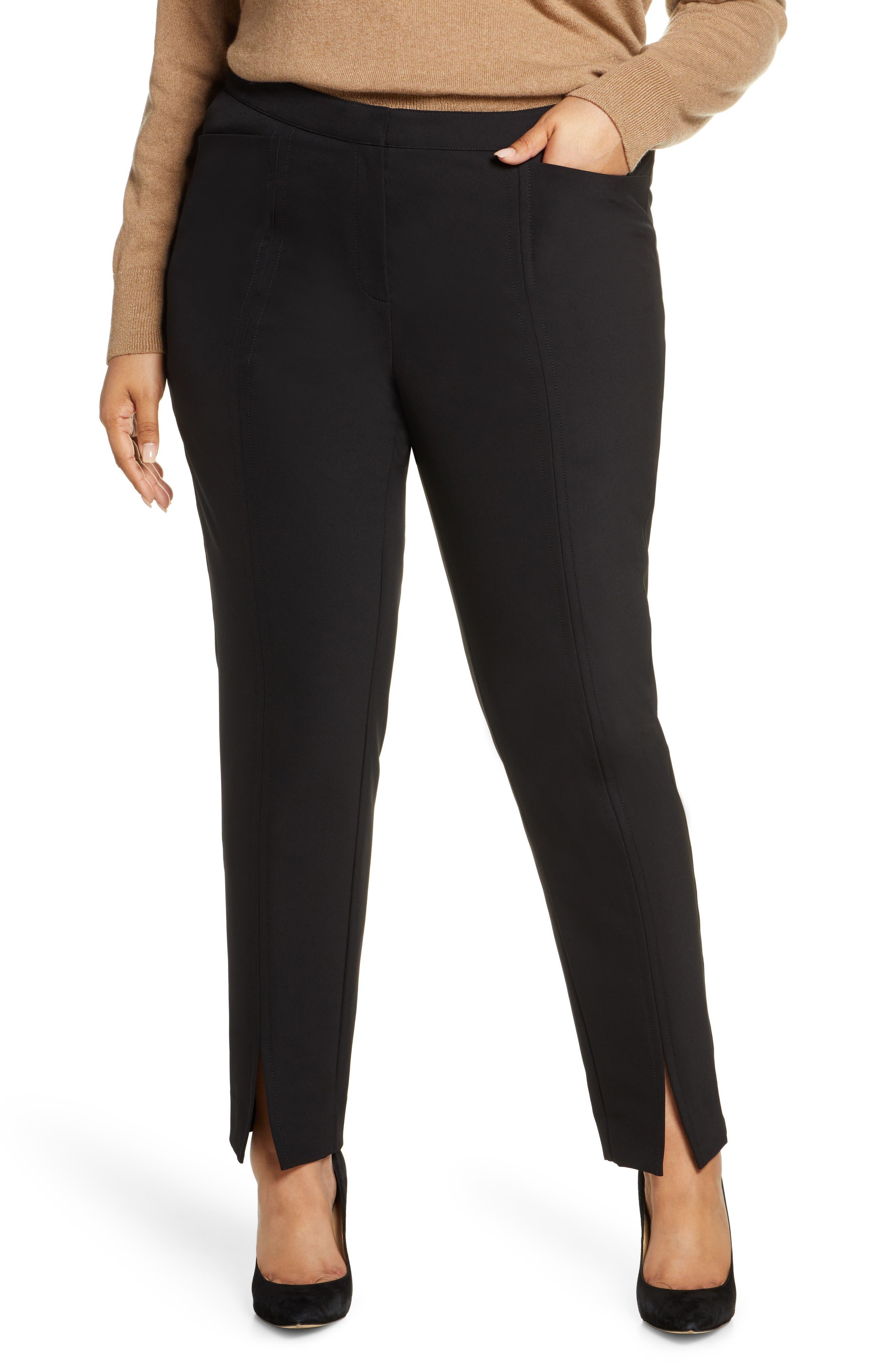 Plus Women's Lafayette 148 New York Waldorf Front Slit Slim Pants