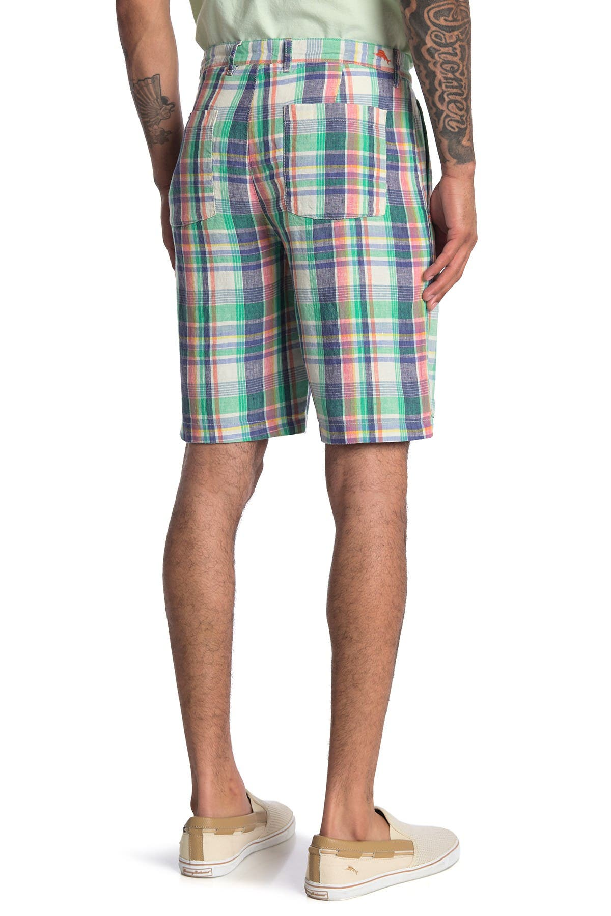 Image of Tommy Bahama Marina Beach Plaid Linen Shorts