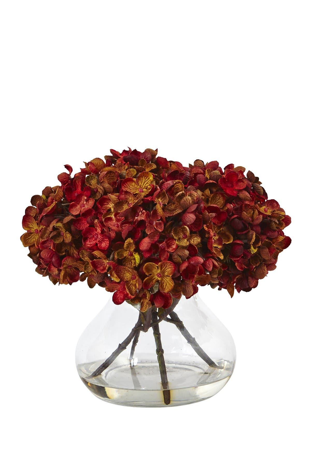 Nearly Natural Red 8 5 H Hydrangea Silk Flower Arrangement With Glass Vase Nordstrom Rack